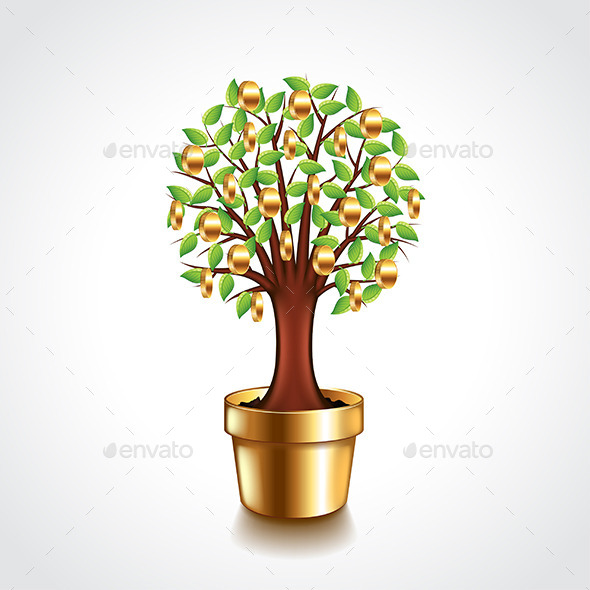 Money Tree in a Pot Vector Illustration - Concepts Business