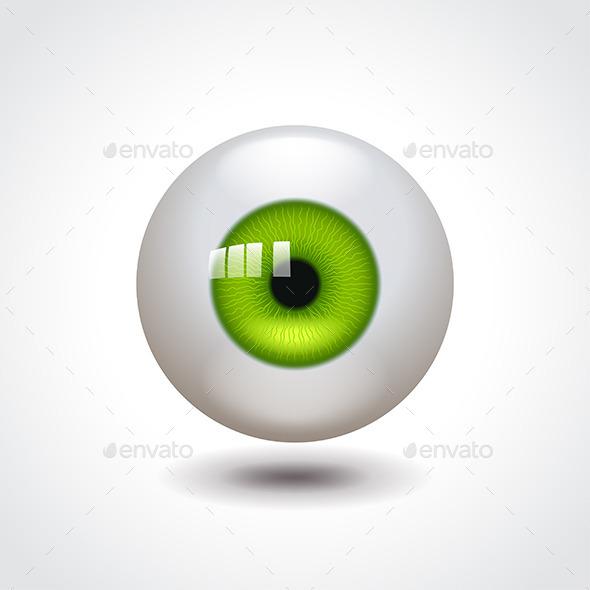 Eyeball with Green Iris Vector Illustration - Health/Medicine Conceptual