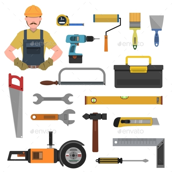 Tools Flat Icons Set - Objects Vectors