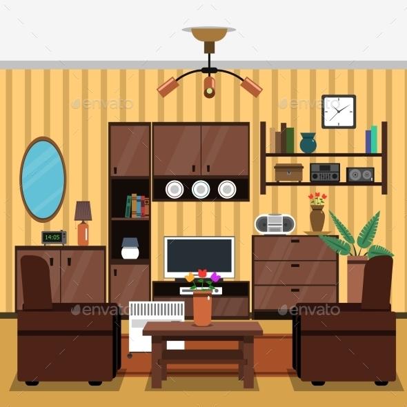 Interior Concept Flat - Objects Vectors