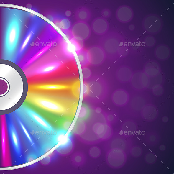 Cd-drive on Musical Background Vector - Media Technology