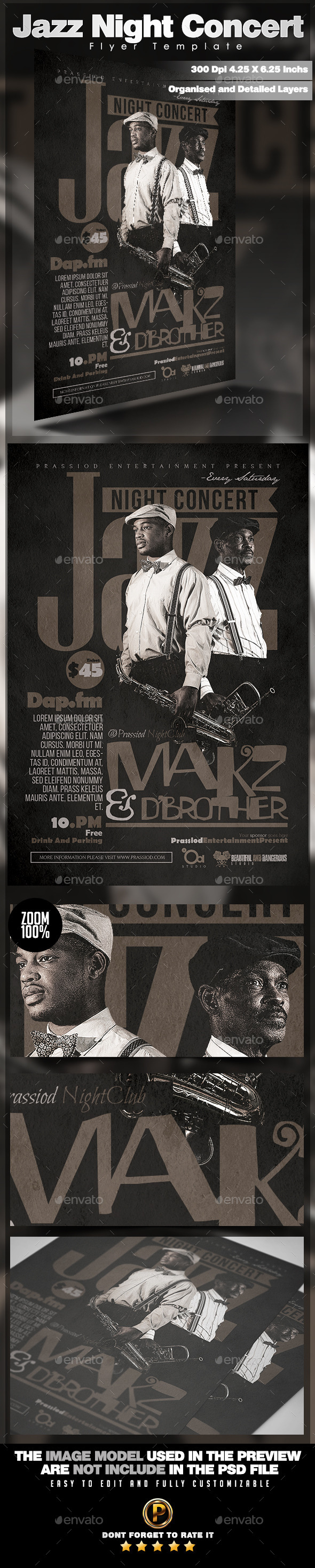 Jazz Night Concert Flyer Template - Concerts Events