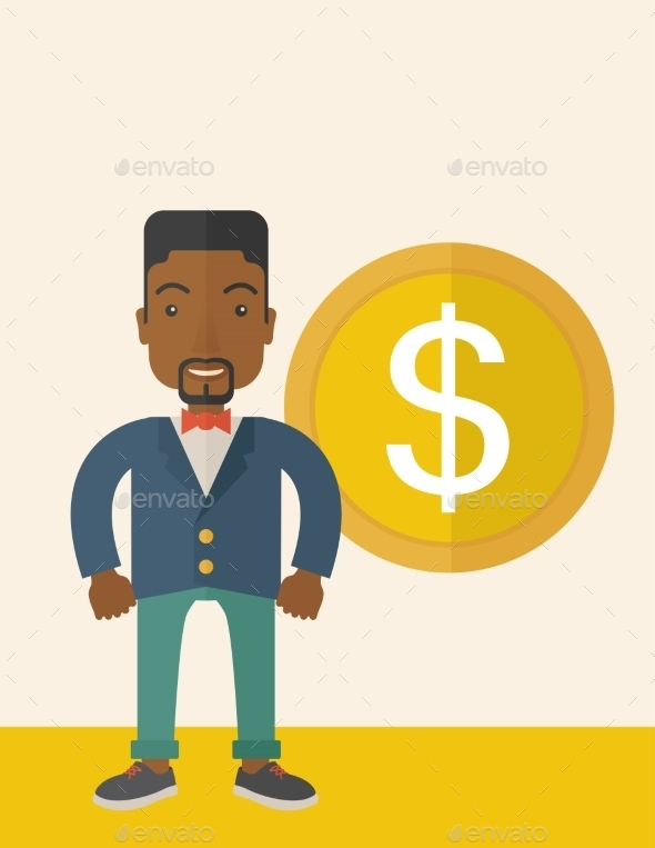 Businessman Standing with a Big Dollar Coin - Concepts Business