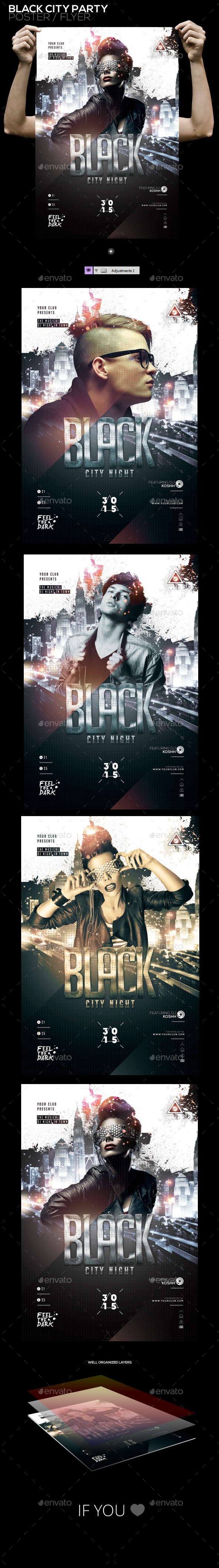 Black City Night PSD Poster/Flyer Template - Clubs & Parties Events