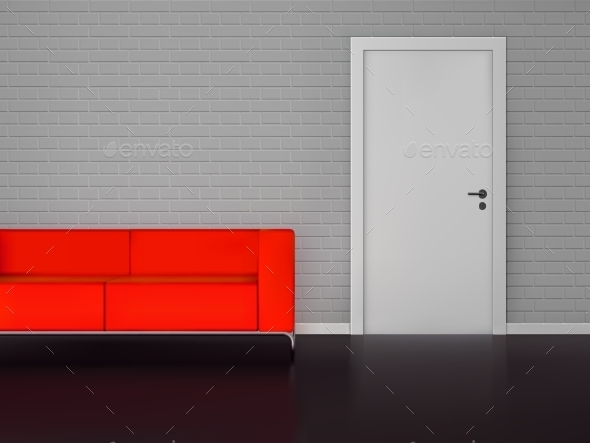 Brick Wall With White Door And Red Sofa - Objects Vectors