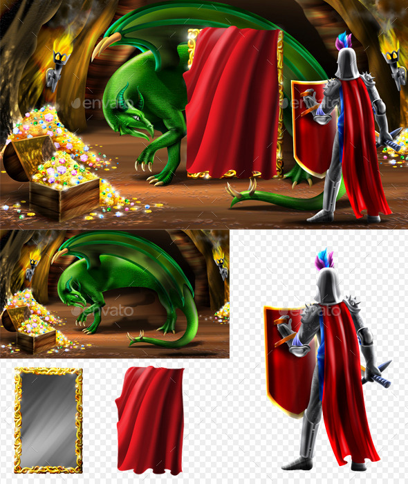 Dragon and Knight - Scenes Illustrations