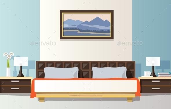 Bedroom Flat Illustration - Backgrounds Decorative