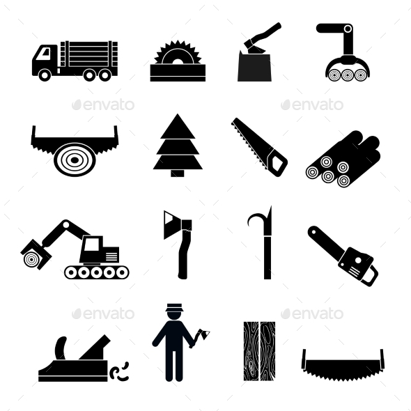 Woodworking Industry Icons Black - Miscellaneous Icons