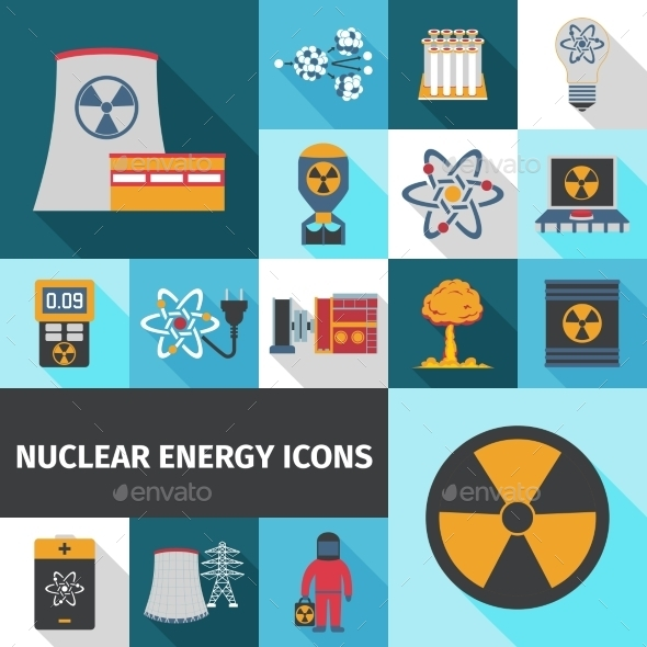 Nuclear Energy Icons Set Flat - Technology Icons
