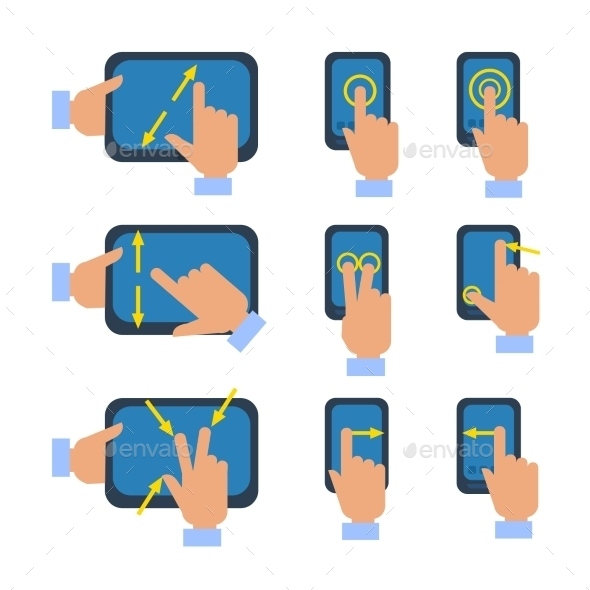 Touchscreen Gestures Icons Set - Technology Conceptual