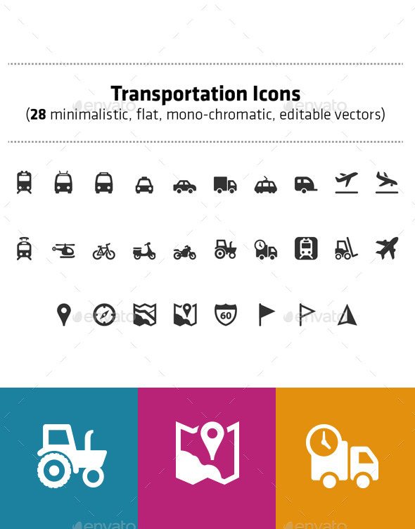 Transportation icons pack (28 vector icons) - Objects Icons