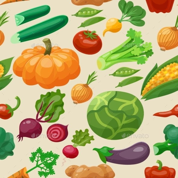 Vegetables Seamless Pattern - Backgrounds Decorative