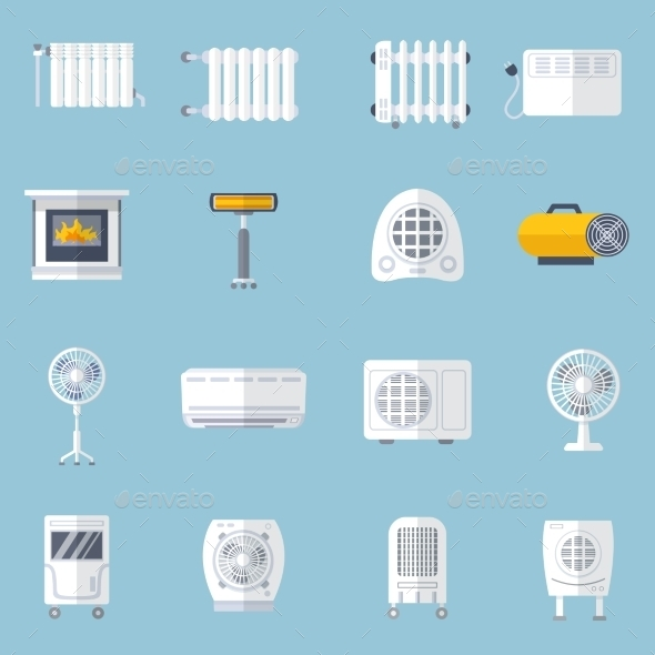 Heating And Cooling Flat Set - Technology Icons