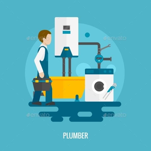 Flat Plumber Icon - Miscellaneous Vectors