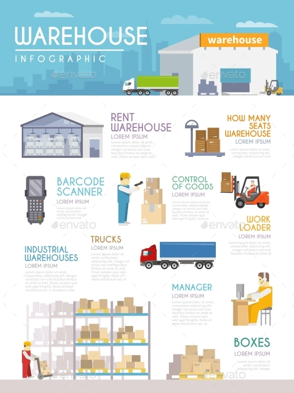 Warehouse Infographics Set - Industries Business