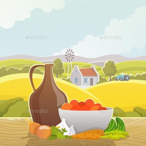 Rural Landscape Abstract Illustration Poster - Landscapes Nature