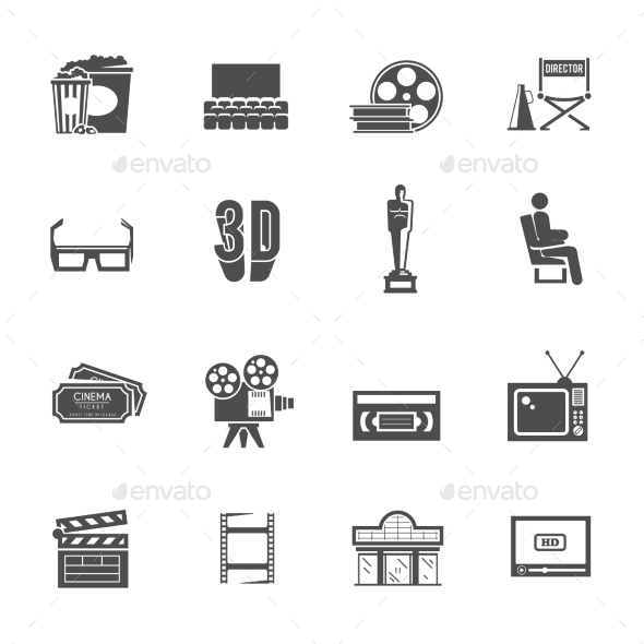 Cinema Retro Black Icons Set - Miscellaneous Icons