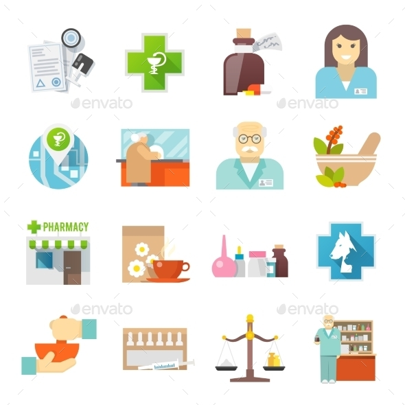 Pharmacicst Flat Icons Set - Miscellaneous Icons