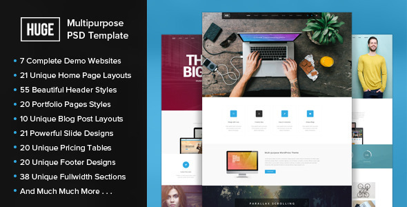 HUGE - Multipurpose PSD Template - Corporate PSD Templates