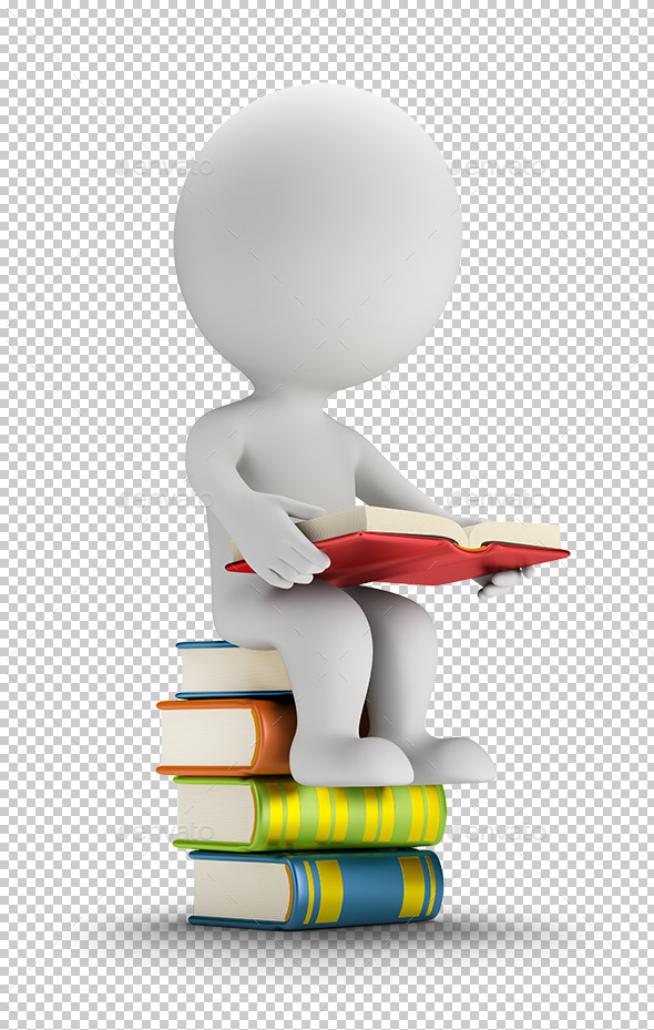 3D Small People Sitting on the Books - Characters 3D Renders