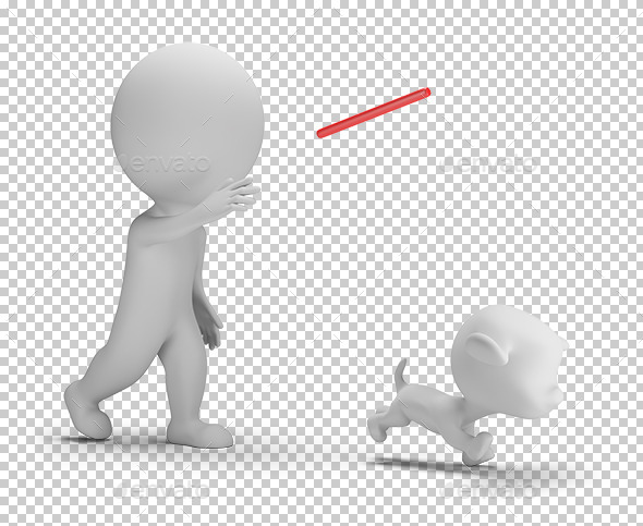 3D Small People - Playing with the Dog - Characters 3D Renders