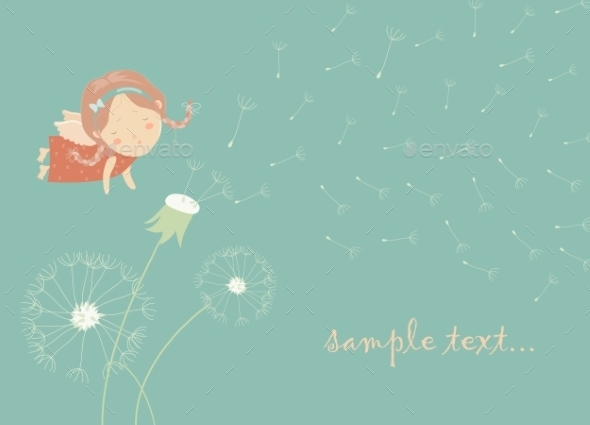 Angel Blowing On a Dandelion - Characters Vectors