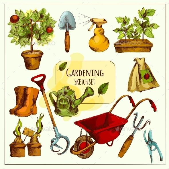 Gardening Sketch Set Colored - Miscellaneous Vectors
