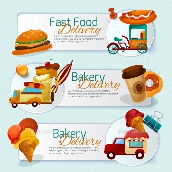 Food Delivery Banner Set - Food Objects