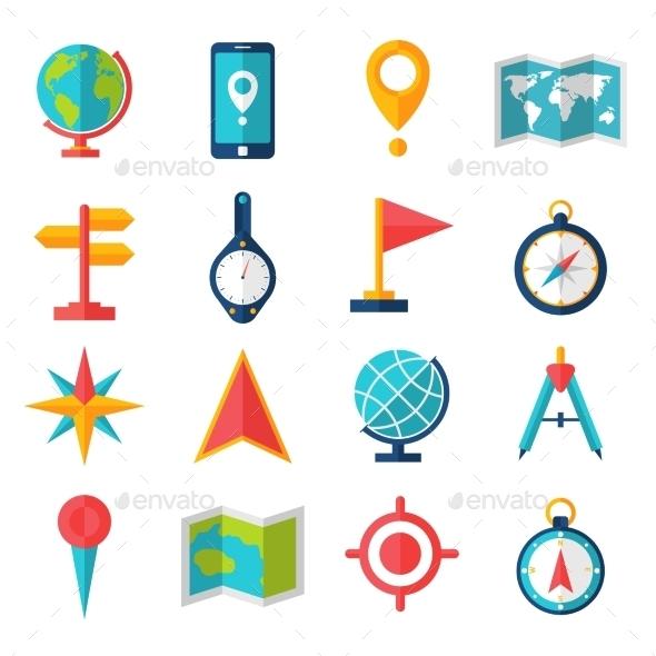 Cartography Flat Icon Set - Technology Icons