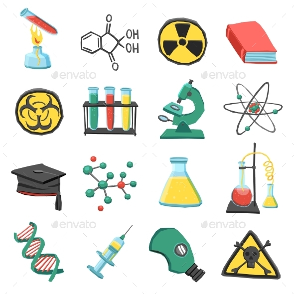 Laboratory Chemistry Icon Set - Objects Vectors