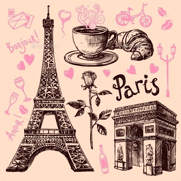 Paris Hand Drawn Symbols Set - Objects Vectors