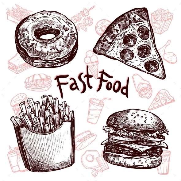 Fast Food And Drinks Sketch Set - Decorative Vectors