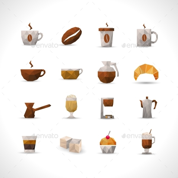 Polygonal Coffee Icons Set - Food Objects