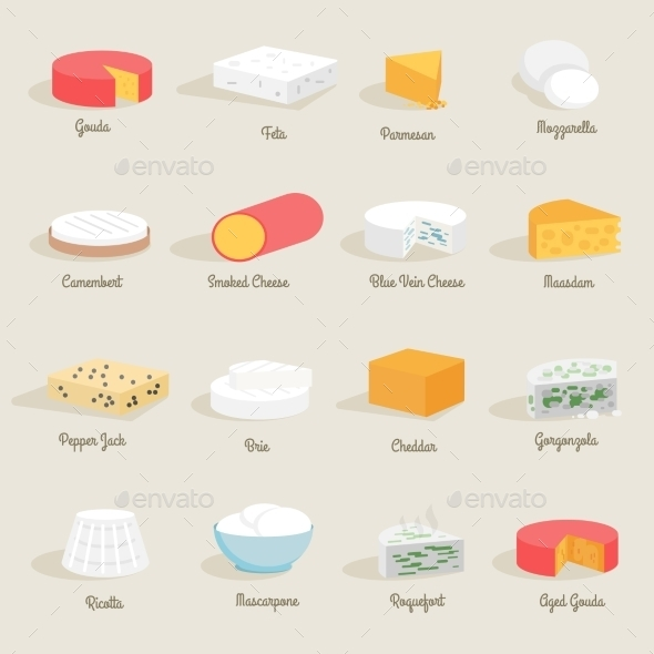 Cheese Icon Flat - Food Objects