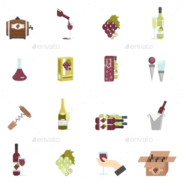 Wine Icon Flat - Food Objects