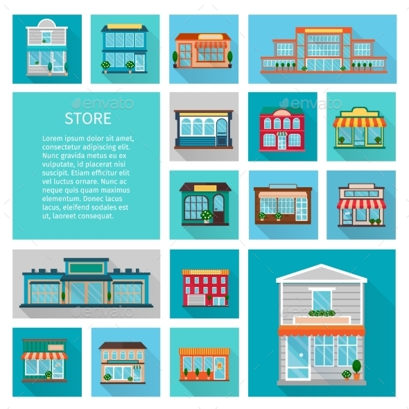 Shopping In Stores Icons Set - Buildings Objects