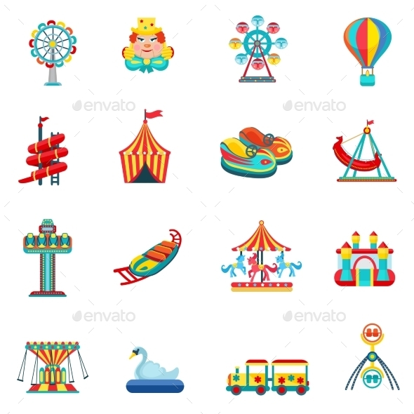 Amusement Park Icons Set - Man-made objects Objects