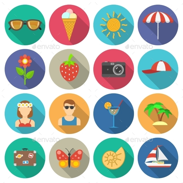 Summer And Vacations Icons Set - Seasonal Icons