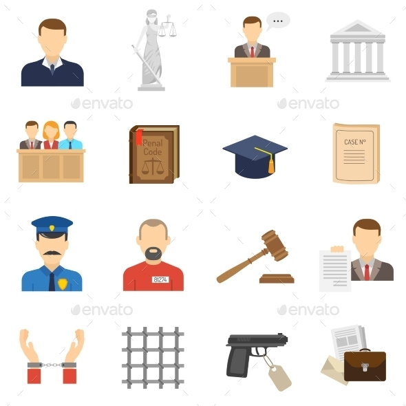 Justice Flat Icons Set  - Miscellaneous Icons