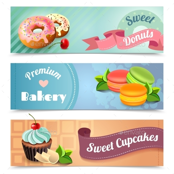 Bakery Banners Set - Food Objects