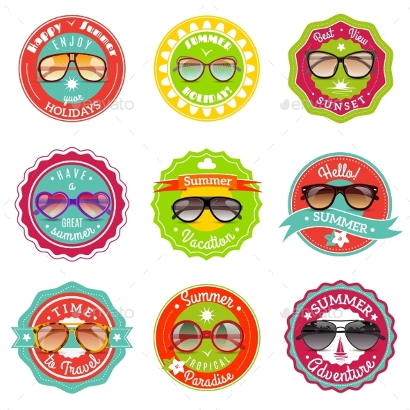 Sun Glasses Summer Sale Labels - Miscellaneous Vectors