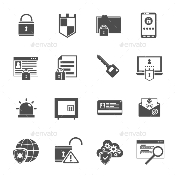 Computer Security Icons Set Black  - Software Icons