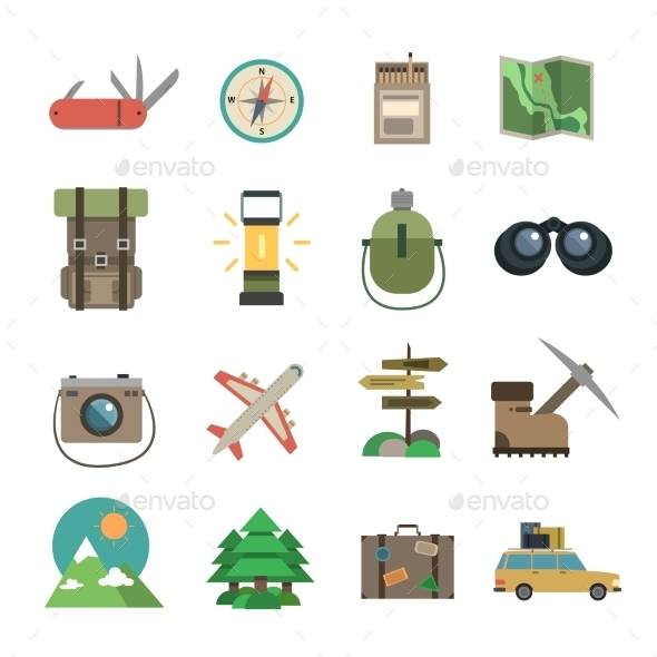Hiking Icons Set Flat - Man-made objects Objects
