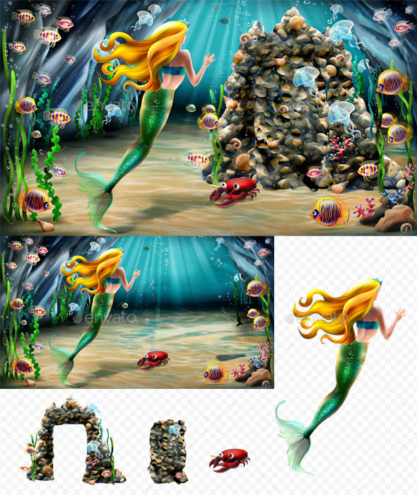 Mermaid and cave - Scenes Illustrations