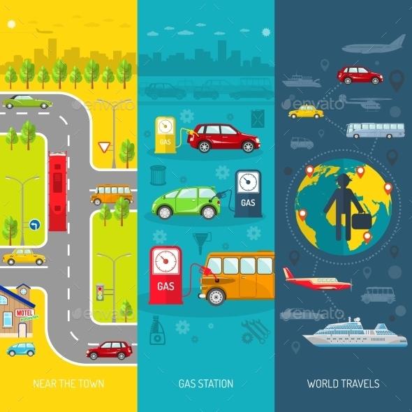 Transport Flat Vertical Banner Set - Travel Conceptual