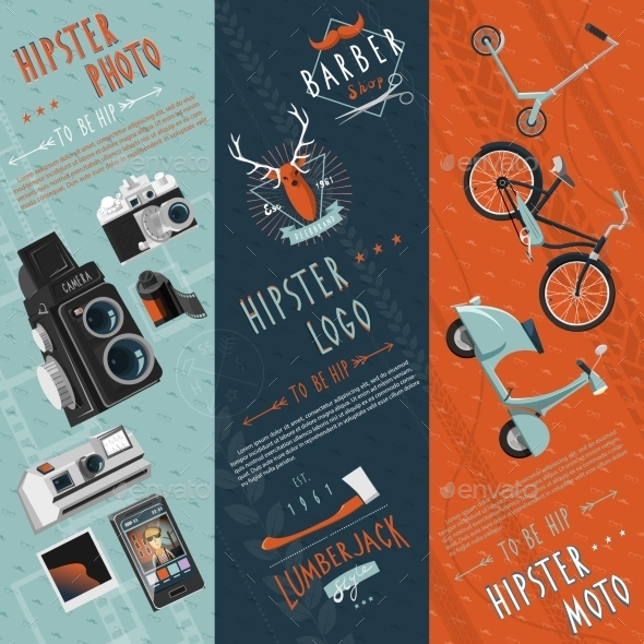 Hipster Flat Banners Set  - Miscellaneous Vectors