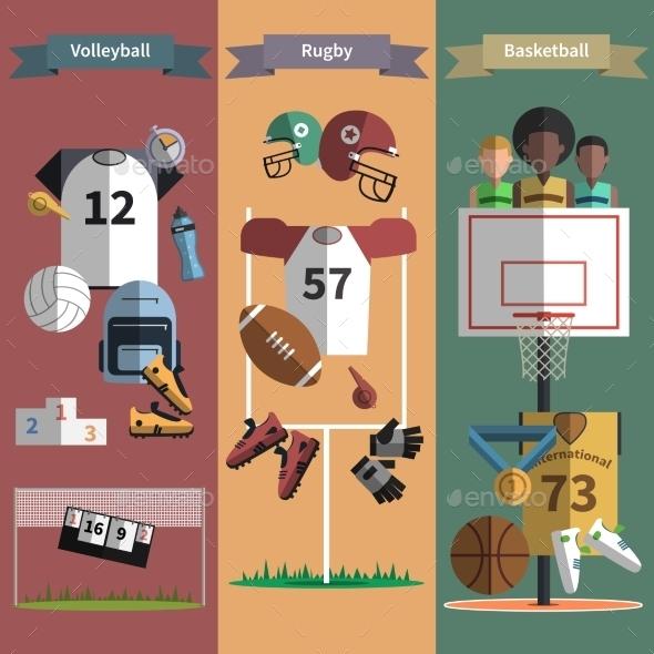 Team Sport Vertical Banners Set - Sports/Activity Conceptual