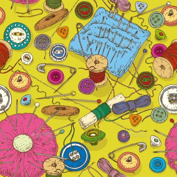 Seamless Pattern With Sewing Supplies, Tools And - Patterns Decorative