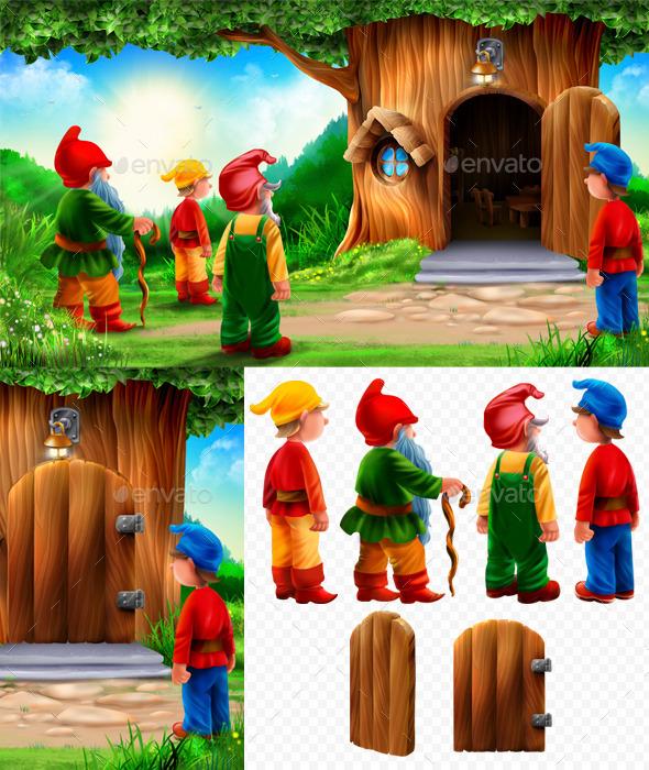 Gnomes and Tree - Scenes Illustrations