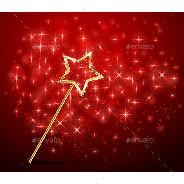 Sparkle Magic Wand on Red Background - Miscellaneous Conceptual